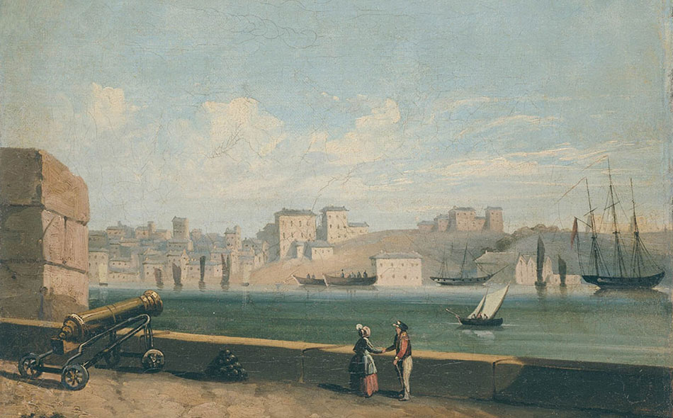 Sydney Cove, painting by unknown artist, 1855, ML 624