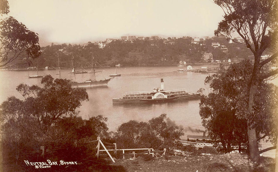 Neutral Bay, Sydney Harbour [showing paddle wheel ferry and sailing ship] Call Number, PXE 711/84