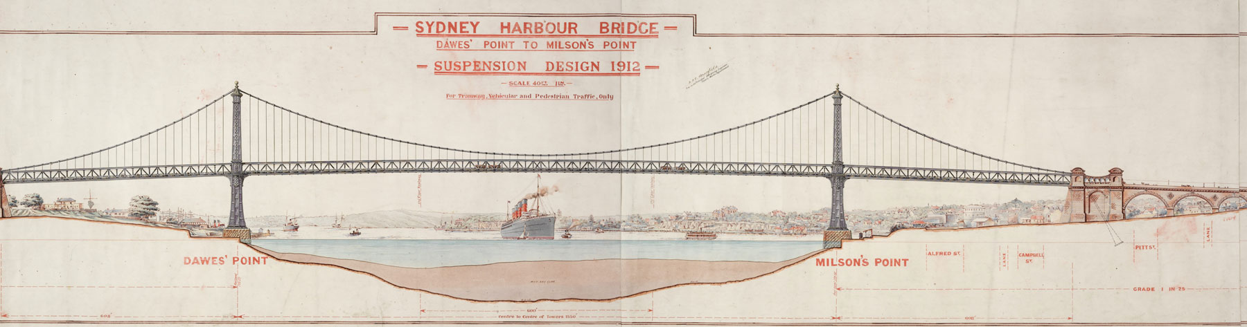 Sydney Harbour Bridge, Dawes' Point to Milson's Point, suspension design 1912 ... for tramway, vehicular and pedestrian traffic only. [and] (Cross section near tower), 1912 / J. J. C. Bradfield