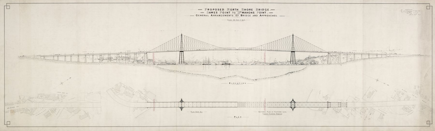 Proposed North Shore bridge & other plans, 1894-1899 / drawing by Benjamin Crispin Simpson, PXD 318