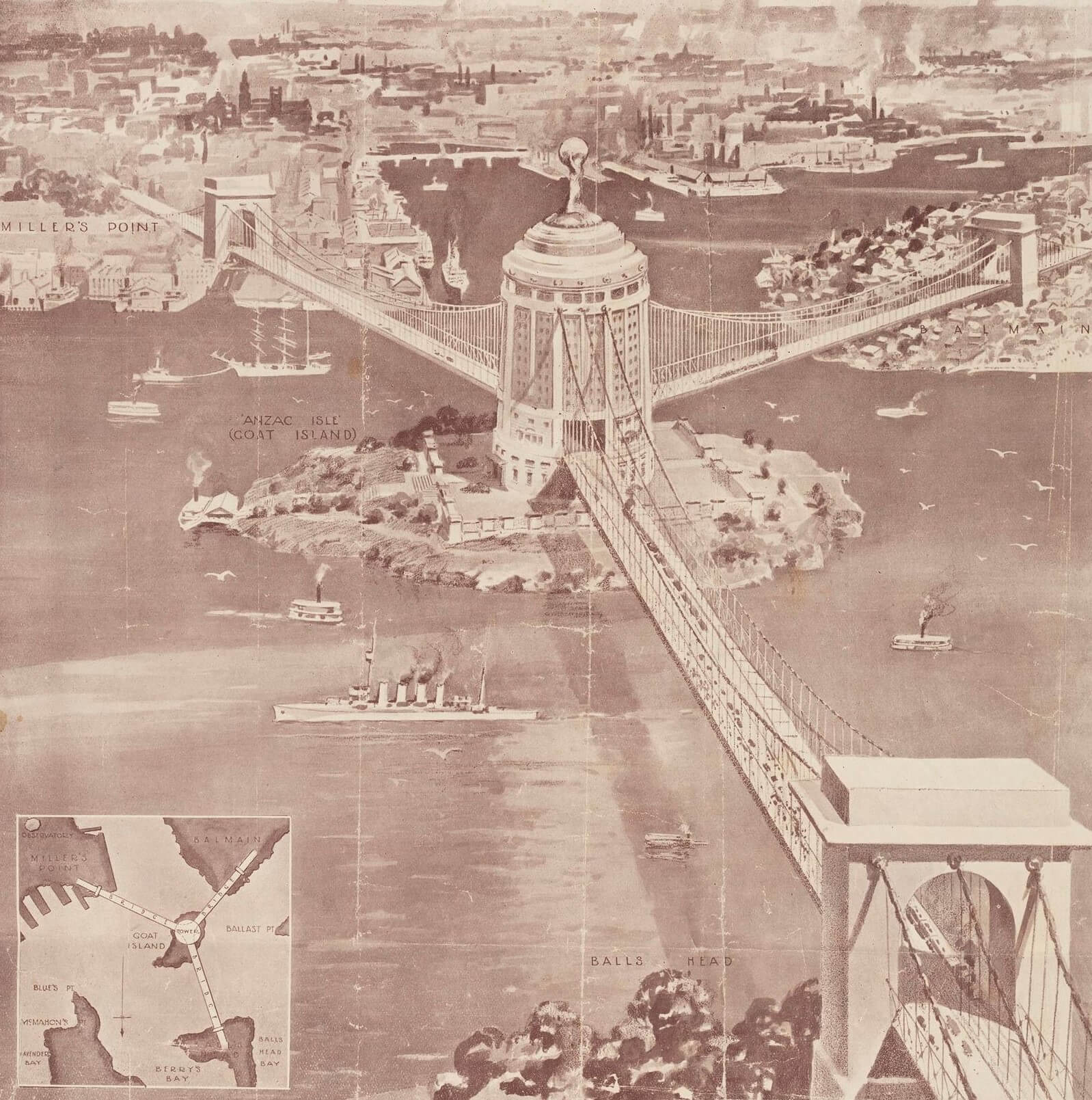 Sydney Harbour Bridge by Ernest Stowe, 1922 Design drawing from Cuttings mainly regarding suggestions for a second harbour bridge in Sydney, MLMSS 1381/Box 2/Item 15