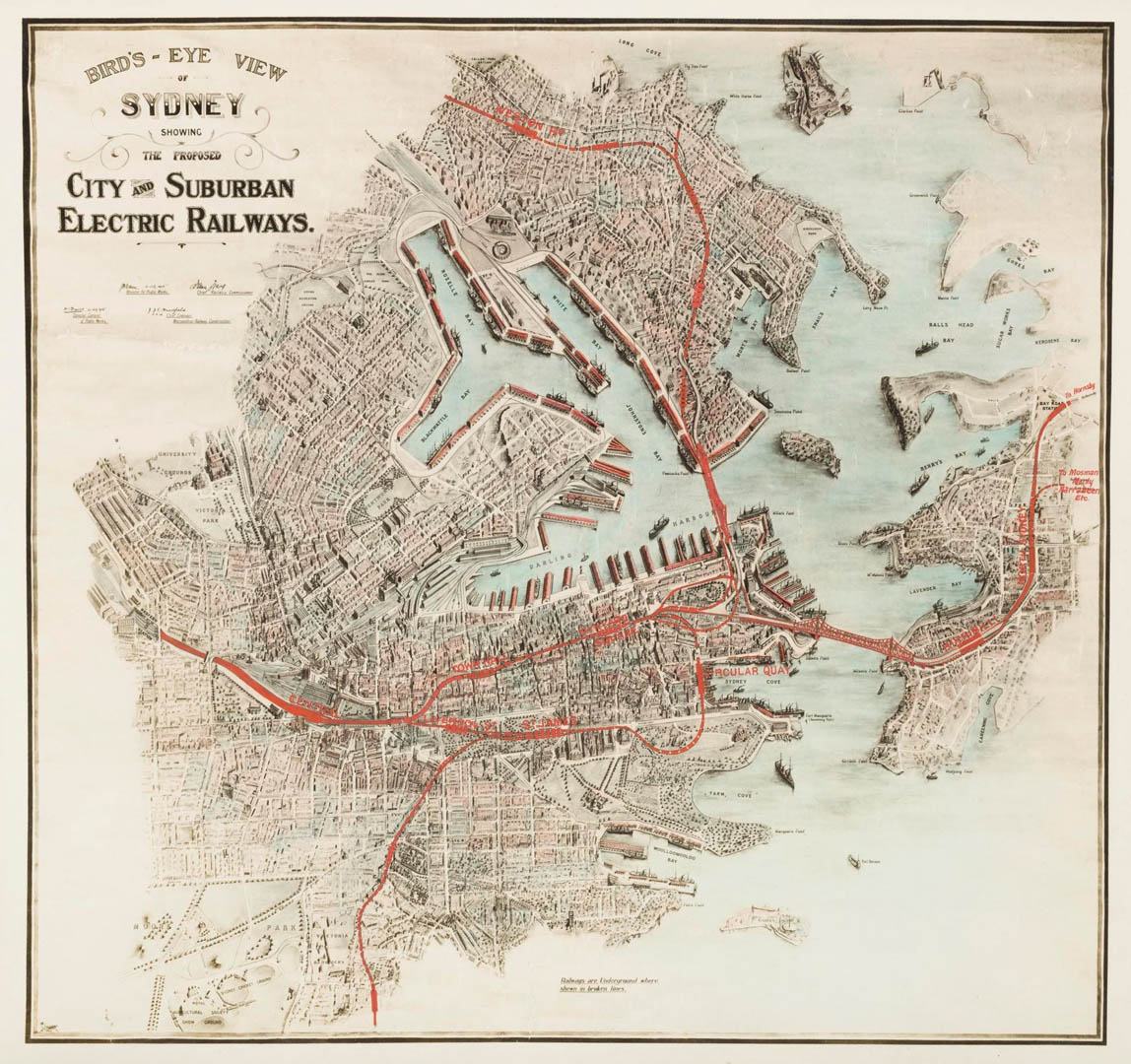 Bird's eye view of Sydney showing the proposed city and suburban electric railways [cartographic material] / by J.J.C. Bradfield, Chief Engineer, Metropolitan Railway Construction. Bradfield, J. J. C. 1867-1943. (John Job Crew): 1915