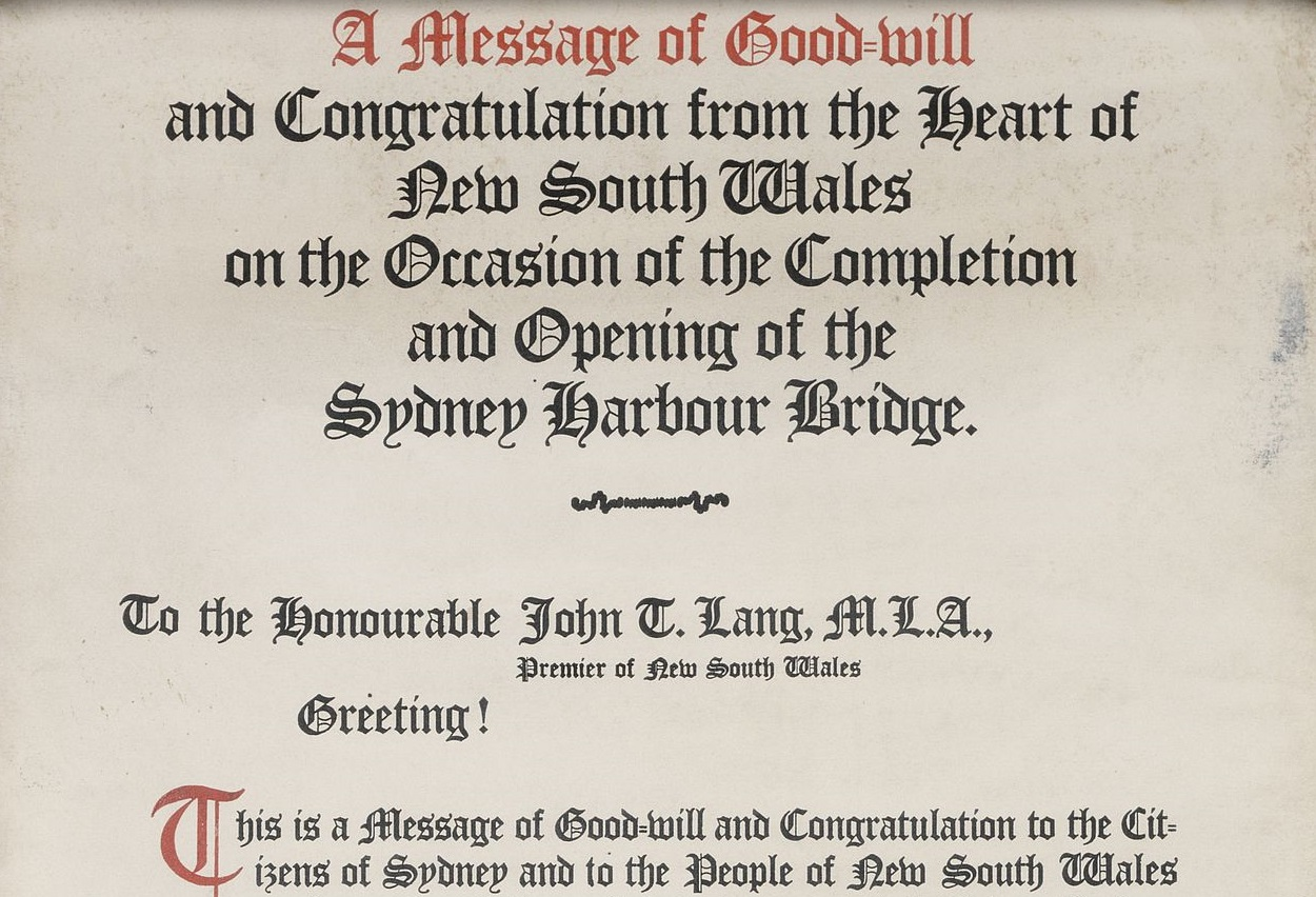 A message (scroll) of goodwill and congratulation, on the occasion of the completion and opening of the Sydney Harbour Bridge, objects, 1932, R 119