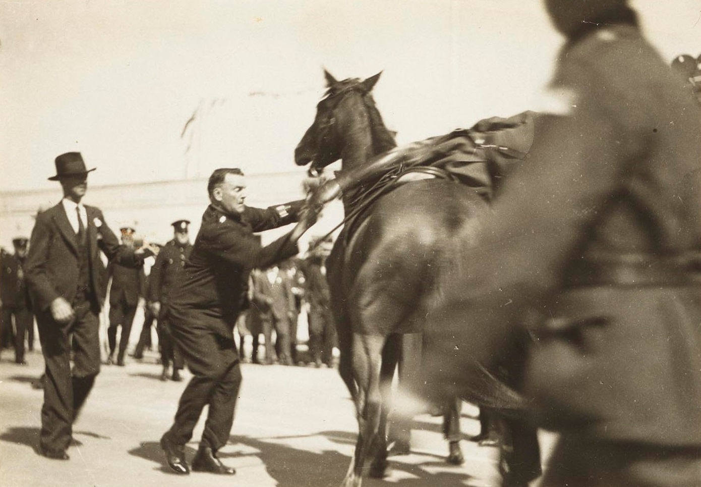 Taken as Capt. de-Groot was dragged off his horse, photograph, from Major Francis Edward De Groot - Papers: Vol. 2 - Opening of Sydney Harbour Bridge, no 10 1932, A 4946