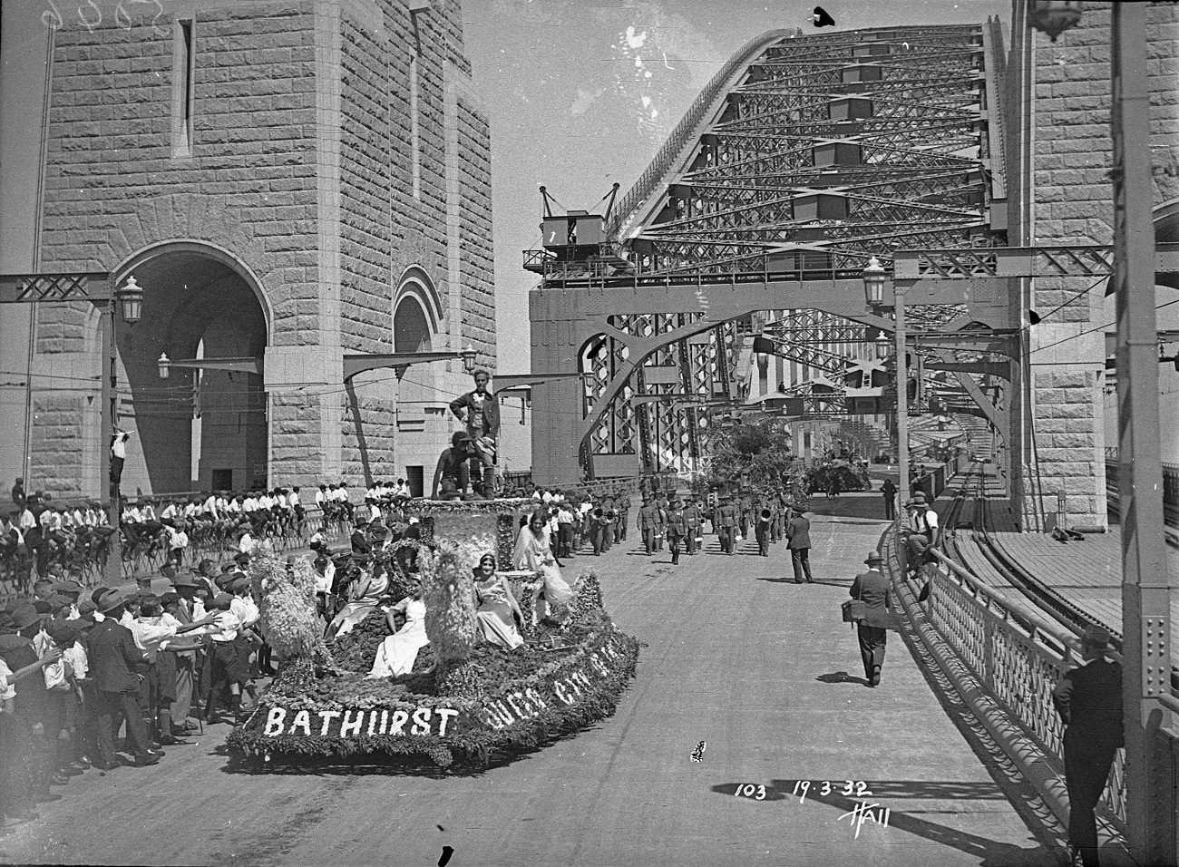 Bathurst float, Sydney Harbour Bridge Celebrations, photographs by Hall and Co, 1932, Home and Away – 38470