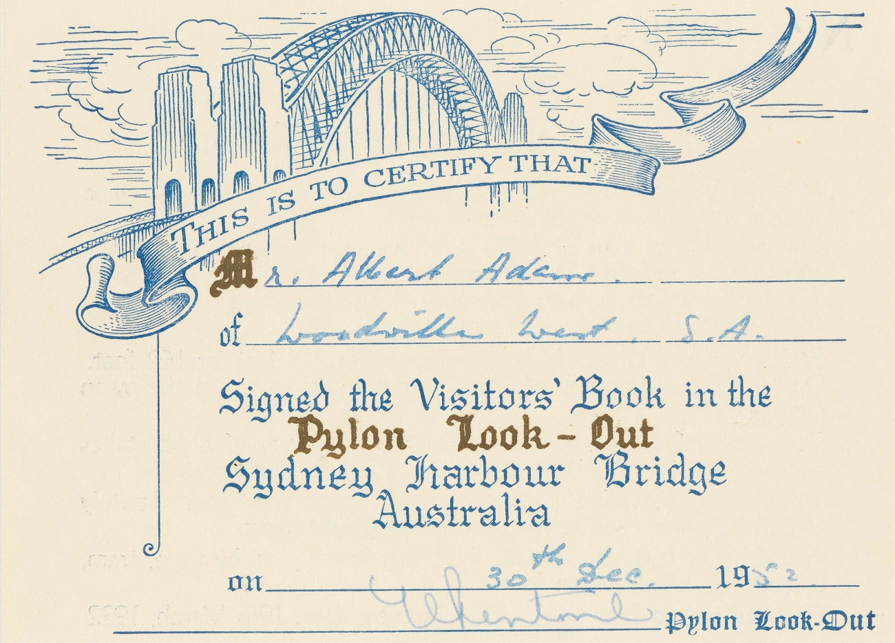 [Ephemera relating to the Sydney Harbour Bridge : including souvenirs of the ceremony of turning the first sod, the ceremony of setting the foundation stone, and the official opening ceremony], 1932, EPHEMERA/SYDNEY HARBOUR BRIDGE/1925-